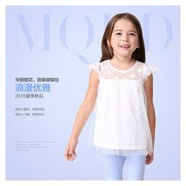 米奇丁當2015夏裝 上衣中大兒童女童短袖圓領雪紡襯衫女童