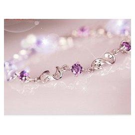 正品 925純銀 韓國 原創紫水晶可愛手鏈女士簡約爆款手飾品