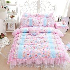 MONEY S HOUSE 粉色美麗華夏花朵雪紡床裙四件套 雙人
