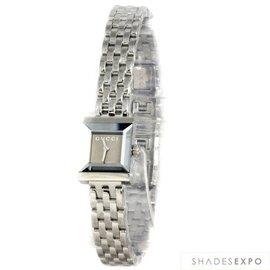 美国代购GUCCI古弛手表腕表银色不锈钢表带女表YA128501