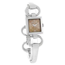 美国代购GUCCI古弛手表腕表 银色不锈钢表带 YA120509 女表