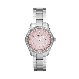 美国直邮 Fossil ES2999 水钻表圈粉色表盘 不锈钢表带 女式手表