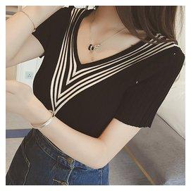 夏天學生短袖t恤閨蜜款女版衣服純色V領修身針織半袖上衣大碼體恤