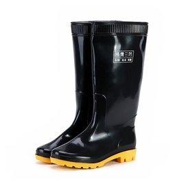 正品展鷹中高筒雨鞋男雨靴套鞋加棉耐酸堿水靴牛筋底勞保膠靴水鞋