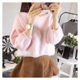 秋裝學生毛衣女套頭 清新加厚短款鼕裝七分袖學院風針織衫寬松