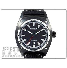 CITIZEN 星辰 Eco~Drive 光動能 簡約皮帶腕錶~IP黑裱框 ^# AW10