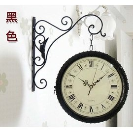 鐵藝大掛鐘 客廳鐘表 雙面鐘 靜音 歐式復古 太陽機芯 鐘表 太陽機芯 居家裝飾送朋友