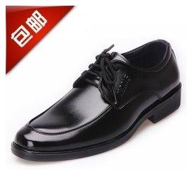 男士正裝皮鞋商務透氣真皮防滑工作鞋增高繫帶黑色工裝男鞋子