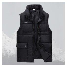 秋鼕 中老年男士棉馬甲純色立領 保暖加厚背心爸爸裝無袖外套