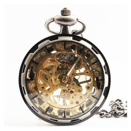 無蓋懷表 復古機械表男女表 玻璃鏡面鏤空 齒輪合金掛表 手表
