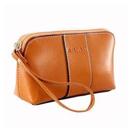 女式復古牛皮零錢包大容量真皮手包拉鏈包女士手機包手拿包小包包