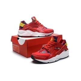 Nike Air Huarache 花卉系列女生 版情侶慢跑鞋小碎花 大紅色 新品