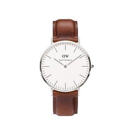 DANIEL WELLINGTON DW 手錶 40mm 皮錶帶 銀色 0207DW