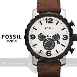 FOSSIL美國品牌創世紀戰神三眼計時真皮腕錶~米黃咖啡