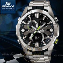 CASIO 卡西歐EDIFICE極速抗震雙顯腕錶~黑綠針53mm