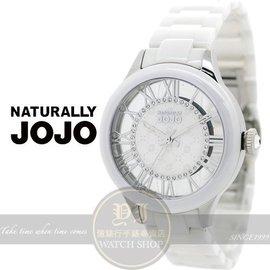 NATURALLY JOJO愛戀頻率鏤空陶瓷 腕錶~白38mm JO96