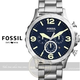 FOSSIL美國品牌創世紀戰神三眼計時腕錶~藍50mm JR1499