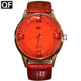 蝴蝶刻度女士手錶糖果色水鑽大錶盤防水石英錶時裝錶