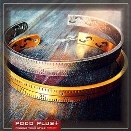 PocoPlus  復古風 字母印刻情侶鈦手環 有型~AC015~