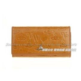Vivienne Westwood 土黃色牛皮愛心壓印 一鈕扣式超 兩折長款皮夾