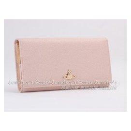 Vivienne Westwood 淺粉紅色素面閃粉珍珠光澤 一鈕扣式特大容量超 兩折長款