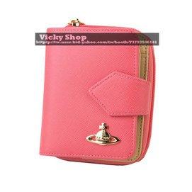 專櫃正品~C140~Vivienne Westwood 薇薇安桃粉色 3開短夾 土星 牛皮