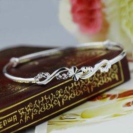 炙真銀樓 990純銀手鐲女款 四葉草銀飾手鐲推拉式銀鐲子首飾品 6.5克