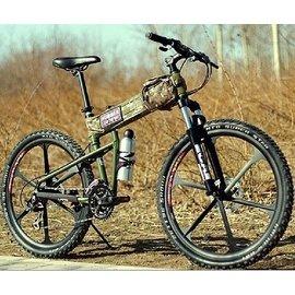 自由騎行車行  三色 悍馬一體輪山地車自行車 鋁合金雙碟剎 折疊山地車 超捷安特