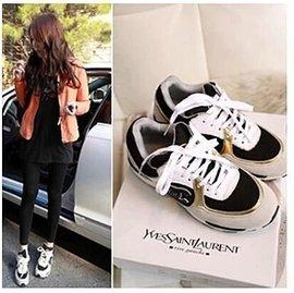 2015 女鞋潮流 百搭小香風鞋平跟字母休閒鞋內增高 鞋子