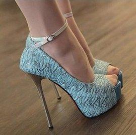 205韓國 蕾絲防水台魚嘴單鞋 夜店性感高跟鞋 35~39碼