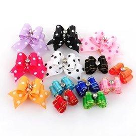 寵物塑膠蝴蝶結皮筋頭飾 狗狗飾品寵物發夾 頭花(茗衣屋)