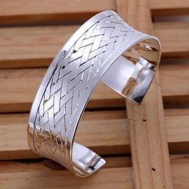 925純銀手鐲女飾品首飾光底編織手鐲手飾YB031