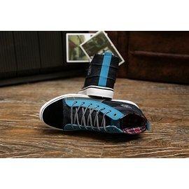 秋 休閒鞋子 潮流牛仔男士 高筒鞋拼色帆布鞋