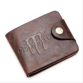 潮男士錢包皮錢包雙拉鏈復古搭扣錢包皮夾