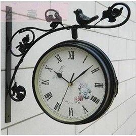 好運來^~歐式正品鐵藝金屬小鳥雙面掛鐘 客廳兩面掛鐘靜音田園韓式鐘表時鐘金屬指針鐘錶