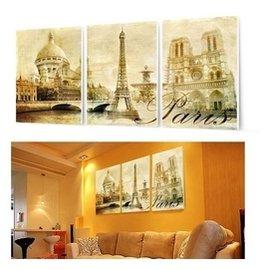 復古巴黎建築客廳無框畫三聯畫臥室裝飾畫風景�棫e掛畫 風