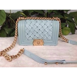 Chanel香奈兒女包 英倫沙發系列交叉斜紋嬰兒藍leboy