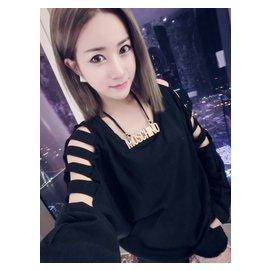 MEYSI 韓國 蝙蝠袖露肩漏洞 套頭打底衫內搭潮T恤秋裝女045