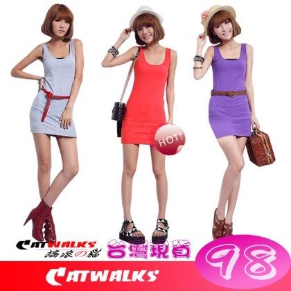 ~ Catwalks 搖滾の貓 ~ 糖果色修身工字版長背心   寶藍、黑色、灰色、紫色、芥