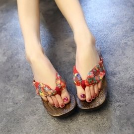 平底木板人字拖 波西米亞沙灘鞋 夾板女拖鞋