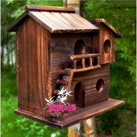 防腐木 戶外鳥窩 防腐木鳥巢 裝飾鳥屋 木鳥籠 玩具 耐用10年