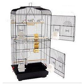 大號!黑色平頂大鸚鵡籠 鳥籠 玄鳳籠 群鳥籠^(配中隔網 玩具)鳥窩鳥屋鳥房子鸚鵡鳥籠 各