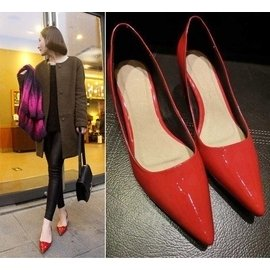 2014新單鞋性感紅色漆皮淺口粗跟中跟單鞋女鞋婚鞋尖頭鞋工作鞋