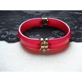 外貿品牌手鐲宮廷小奢紅色甜美鑲金瑞麗艷麗亞克力可打開手鏈女