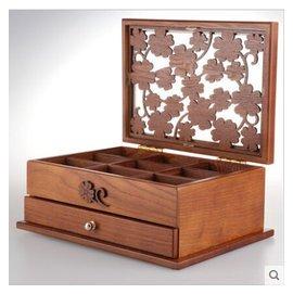 實木制勿忘草雕花雙層珠寶盒 首飾盒 飾品盒 收納盒