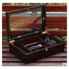 實木質超大眼鏡盒 墨鏡盒 太陽鏡盒收納盒 項鏈飾品盒五格