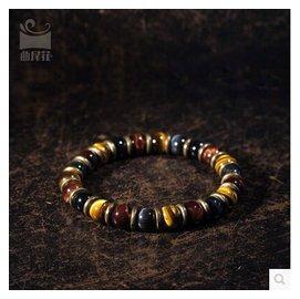 原創 民族風天然虎睛石珠子手串 復古 飾品男款特色手鏈