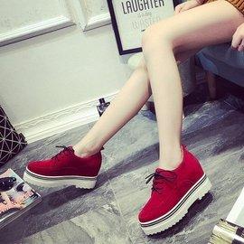 2016 英倫風松糕厚底女鞋磨砂皮內增高學生單鞋馬丁靴短靴