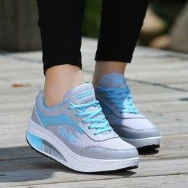 女鞋鬆糕網面透氣搖搖鞋坡跟旅游鞋厚底 休閒鞋