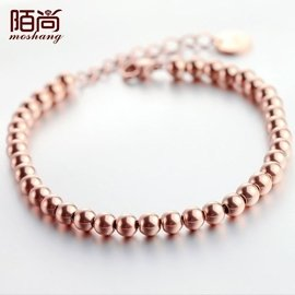 Top3c 陌尚簡約 佛珠圓珠珠手鏈女款飾品鍍18k玫瑰金鈦鋼